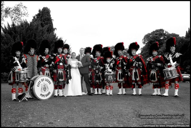 City of Leeds Pipe Band at a Wedding in Horsforth