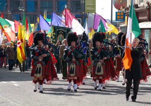 City of Leeds Pipeband leading the parade