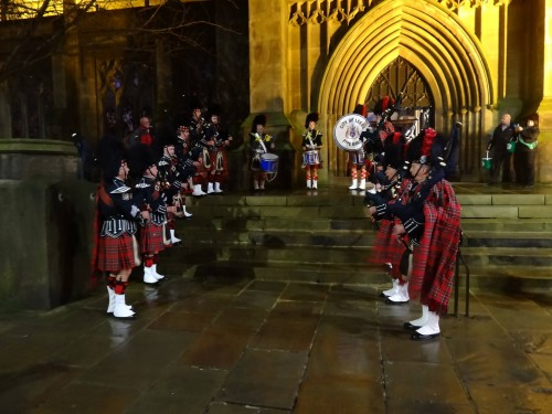 City of Leeds Pipe Band on the steps of Leeds Minster